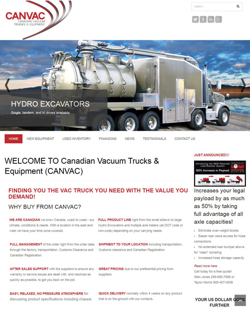 Canvac Trucks & Equipment - Website